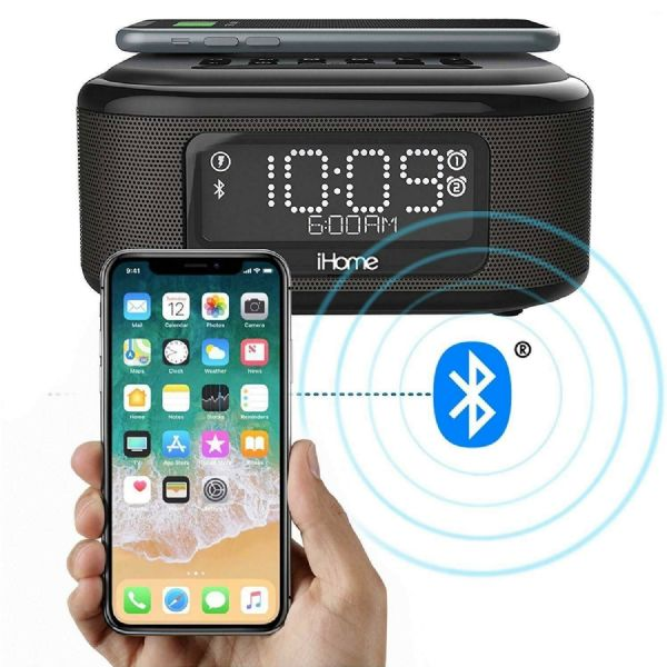 iHome iBTW23 Bluetooth Dual Alarm Clock with Speakerphone Wireless Charging